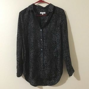 Equipment black cheetah print loose button down
